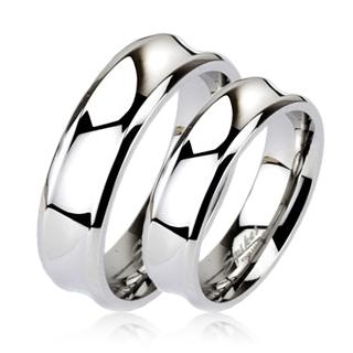 Levné snubní prsteny chirurgická ocel pár OPR1408 (Ocelové snubní prsteny levné 1 pár)