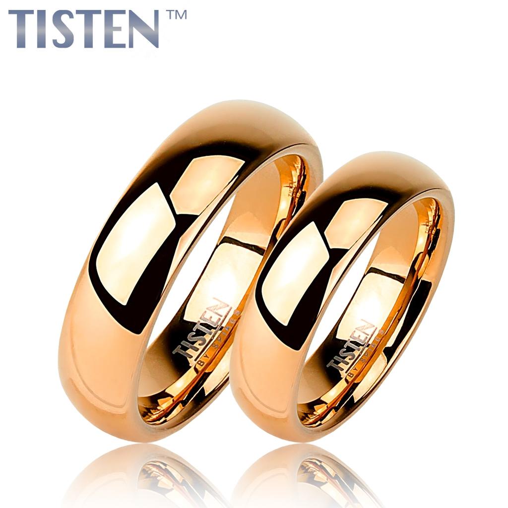 Tistenové snubní prsteny zlacené pár TIS0003