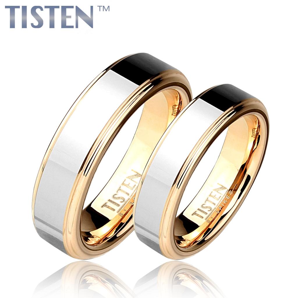 Tistenové snubní prsteny zlacené pár TIS0006