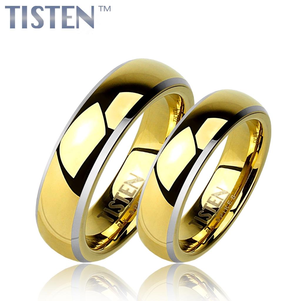 Tistenové snubní prsteny zlacené lesklé pár TIS0007