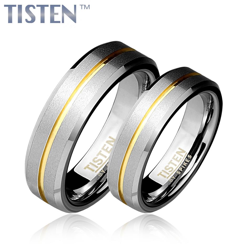 Tistenové snubní prsteny zlacené pár TIS0008