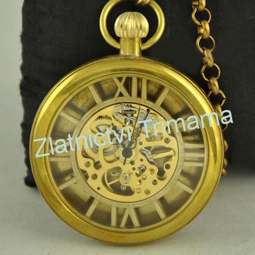Kapesní retro mosazné hodinky natahovací KH0023