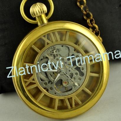 Kapesní retro mosazné hodinky natahovací KH0024