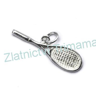 Stříbrný přívěšek tenisová raketa AG 925/1000 (Přívěšek ve tvaru tenisové rakety vyrobený ze stříbra)