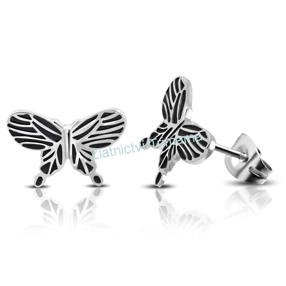 Náušnice pecky motýlci chirurgická ocel (Ocelové náušnice motýl pro ženy)