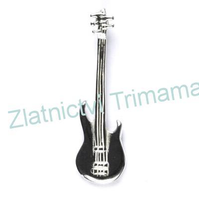 Stříbrný přívěšek basová kytara stříbro Ag 925/1000