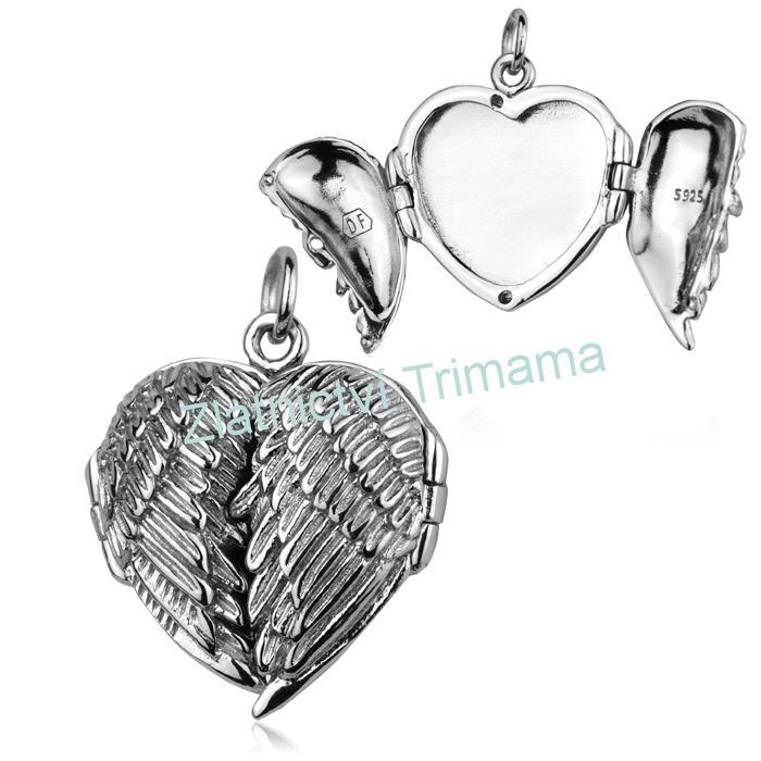 Stříbrný přívěšek otevírací medailonek srdce Ag 925/1000