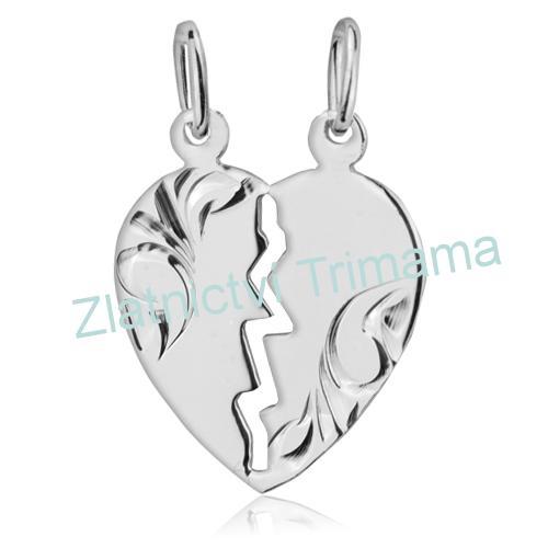 Stříbrný partnerský přívěšek srdce AG 925/1000