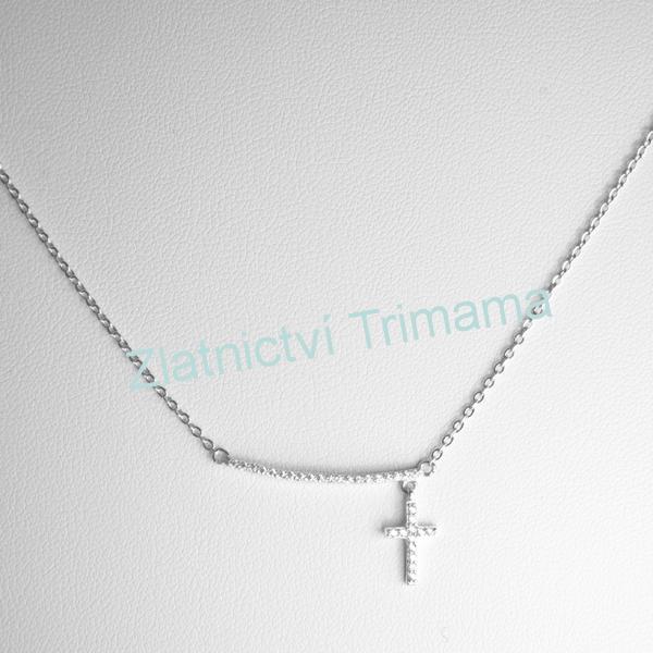 Stříbrný řetízek křížek se zirkony Ag 925/1000