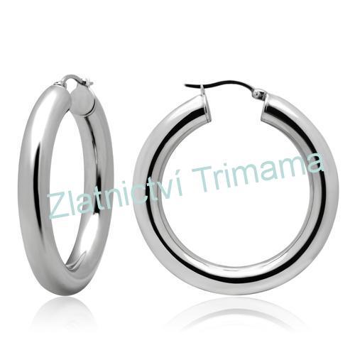 Náušnice kruhy 40 mm, 6 mm široké chirurgická ocel