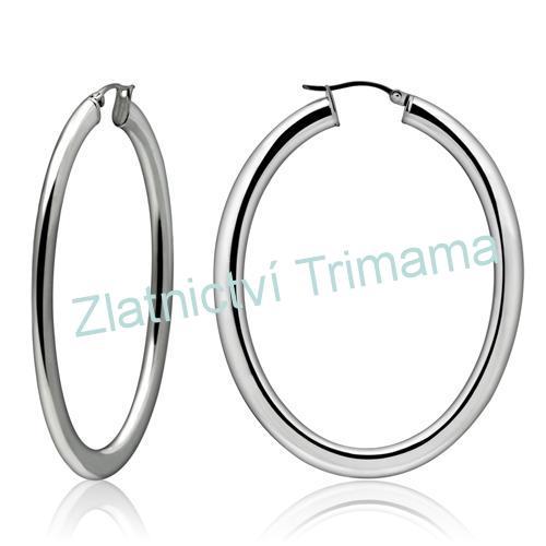 Náušnice kruhy ovály 50x60 mm, 6 mm široké chirurgická ocel