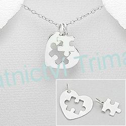 Stříbrný partnerský přívěšek puzzle Ag 925/1000