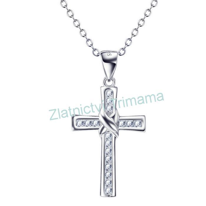Stříbrný přívěšek křížek řetízek Ag 925/1000
