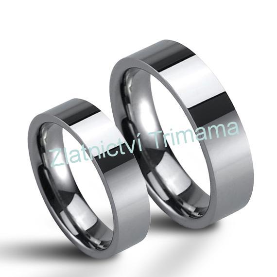 Wolframové snubní prsteny pár NWF1062