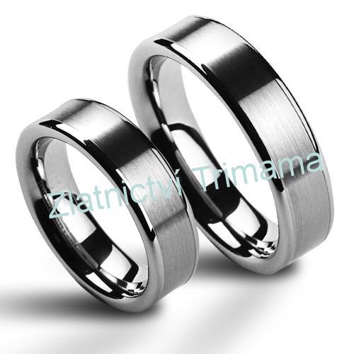 Snubní prsteny wolfram pár NWF1003 (Snubní prsteny wolfram pár NWF1003)