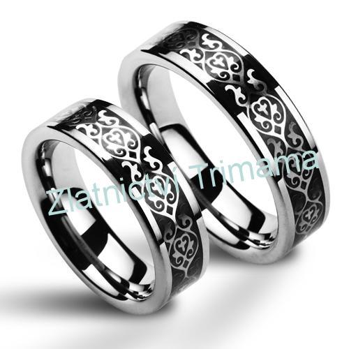 Snubní prsteny wolfram pár s ornamenty NWF1030 (Snubní prsteny wolfram pár s ornamenty NWF1030)