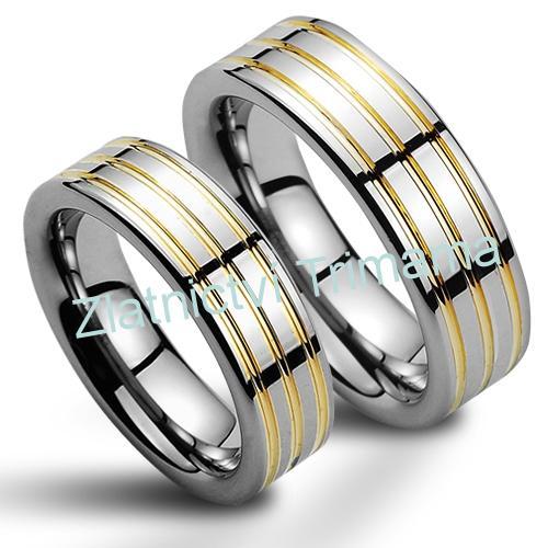 Snubní prsteny wolfram pár NWF1052 (Snubní prsteny wolfram pár NWF1052)
