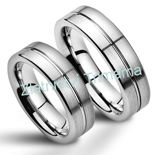 Snubní prsteny wolfram pár NWF1054 (Snubní prsteny wolfram pár NWF1054)