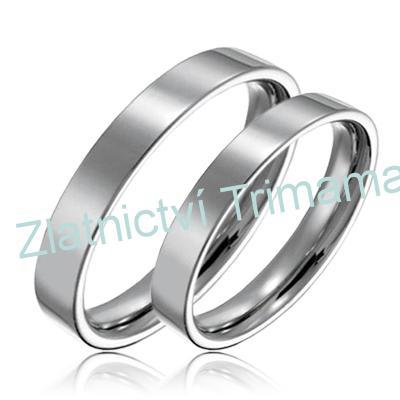 Levné snubní prsteny chirurgická ocel pár OPR1264 (Ocelové snubní prsteny 1 pár levné)