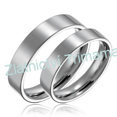 Levné snubní prsteny chirurgická ocel pár OPR1265 (Ocelové snubní prsteny levné 1 pár)