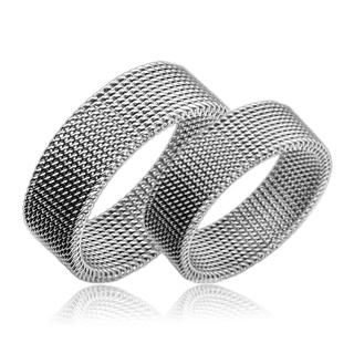Levné snubní prsteny chirurgická ocel pár OPR1318 (Levné ocelové snubní prsteny 1 pár)
