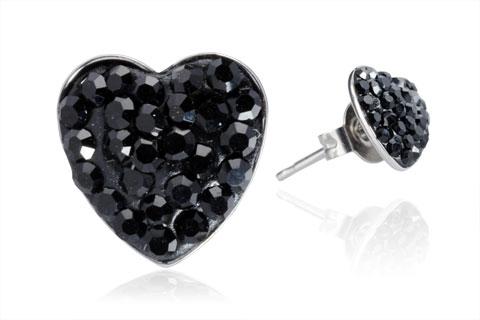 Ocelové náušnice srdíčka 8 mm černé krystaly ESW1036 (Náušnice pecky srdíčka s černými kamínky z chirurgické oceli)