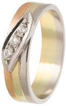 Snubní prsten zlatý 14ti karátové zlato se zirkonem 585/000 BENET GOLD 501 (Snubní prsten zlatý červeno-bílé-žluté 14ti karátové zlato se zirkonem 585/000 BENET GOLD 501)