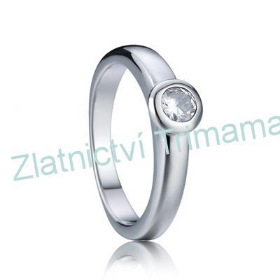 Prsten zásnubní se zirkonem chirurgická ocel OPR1543 (Ocelový zásnubní prsten se zirkonem)