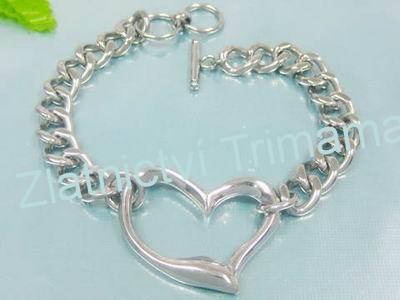 Dámský náramek srdíčko chirurgická ocel (Ocelový náramek srdce)