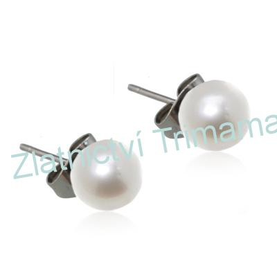 Ocelové náušnice perličky bílé, 6 mm OPN1019