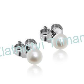 Ocelové náušnice perličky bílé, 4 mm OPN1047 (Ocelové náušnice perličky bílé, 4 mm OPN1047)