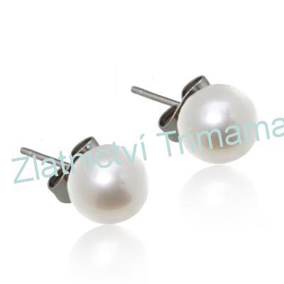 Ocelové náušnice perličky bílé, 8 mm OPN1084 (Ocelové náušnice perličky bílé, 8 mm OPN1084)