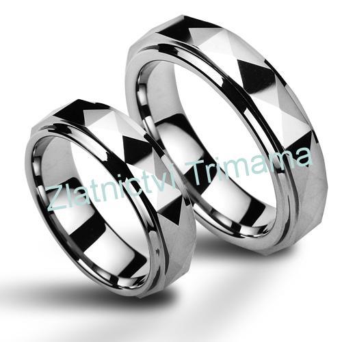 Wolframové snubní prsteny - pár NWF1037 (Wolframové snubní prsteny - pár NWF1037)