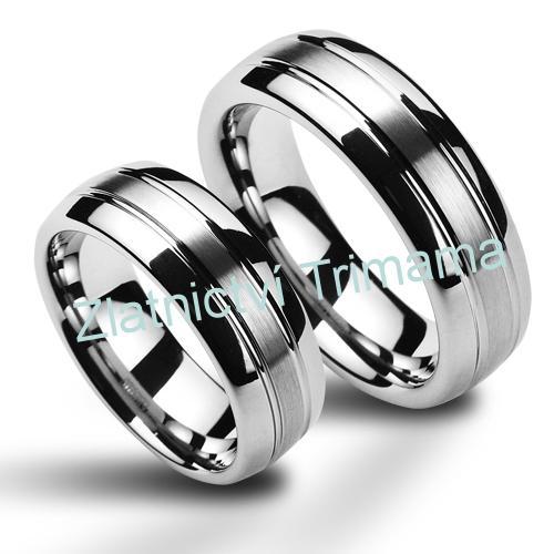 Wolframové snubní prsteny - pár NWF1040 (Wolframové snubní prsteny - pár NWF1040)