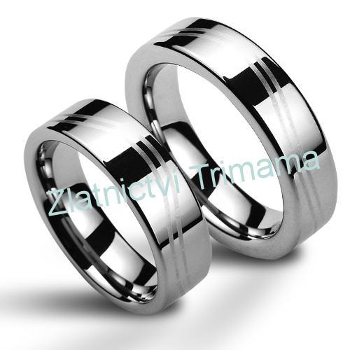 Wolframové snubní prsteny - pár NWF1042 (Wolframové snubní prsteny - pár NWF1042)