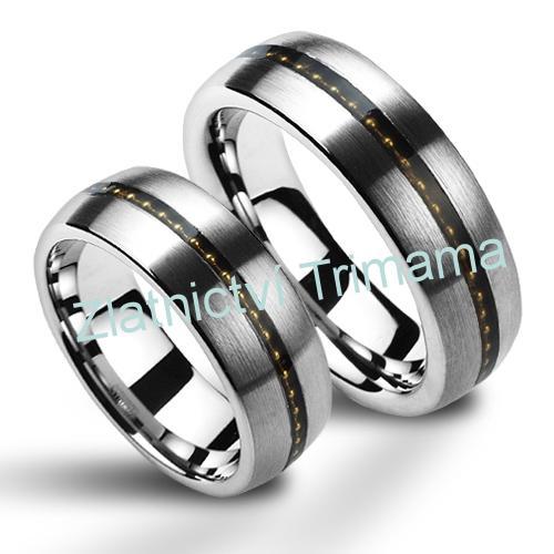 Wolframové snubní prsteny - pár NWF1043 (Wolframové snubní prsteny - pár NWF1043)