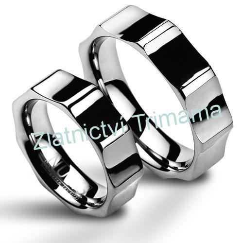 Wolframové snubní prsteny - pár NWF1044 (Wolframové snubní prsteny - pár NWF1044)
