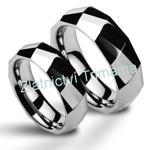 Wolframové snubní prsteny - pár NWF1046 (Wolframové snubní prsteny - pár NWF1046)