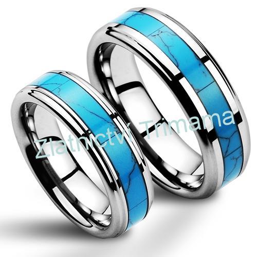 Wolframové snubní prsteny - pár s tyrkysem NWF1055 (Wolframové snubní prsteny - pár s tyrkysem NWF1055)