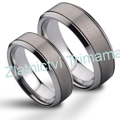 Wolframové snubní prsteny - pár NWF1057 (Wolframové snubní prsteny - pár NWF1057)