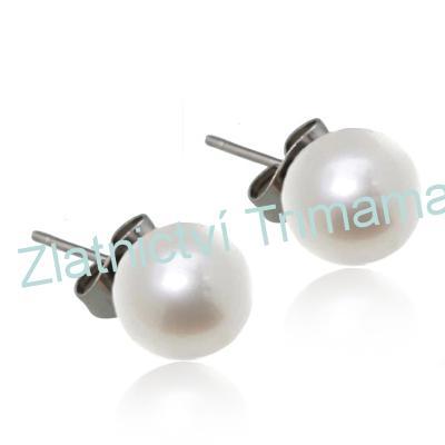 Ocelové náušnice perličky bílé, 10 mm OPN1118