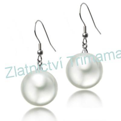 Ocelové náušnice perličky bílé, 18 mm OPN1195