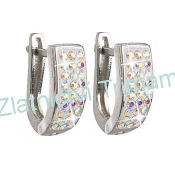 Stříbrné náušnice kruhy SWAROVSKI® elements, crystal Ab EG2010 AG925/1000 (Stříbrné náušnice kruhy SWAROVSKI® elements, crystal Ab EG2010 AG925/1000)