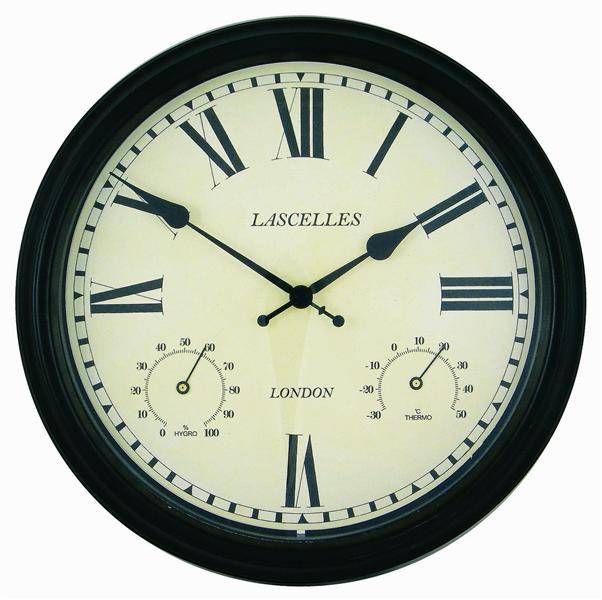 Venkovní hodiny s teploměrem - Retro - tmavě hnědé Roger Lascelles (Venkovní hodiny s teploměrem - Retro - tmavě hnědé Roger Lascelles)