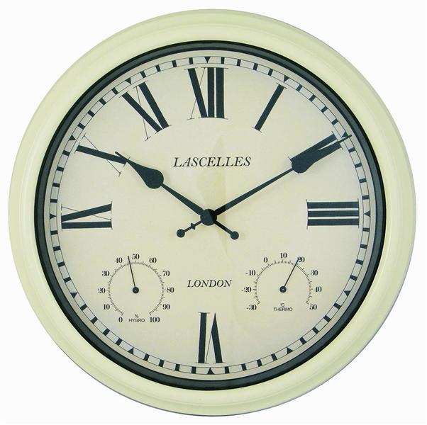 Venkovní hodiny s teploměrem - Retro - krémové Roger Lascelles (Venkovní hodiny s teploměrem - Retro - krémové Roger Lascelles)