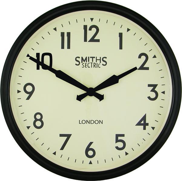 Velké nástěnné retro hodiny - Smiths - černé Roger Lascelles (Velké nástěnné retro hodiny - Smiths - černé Roger Lascelles)