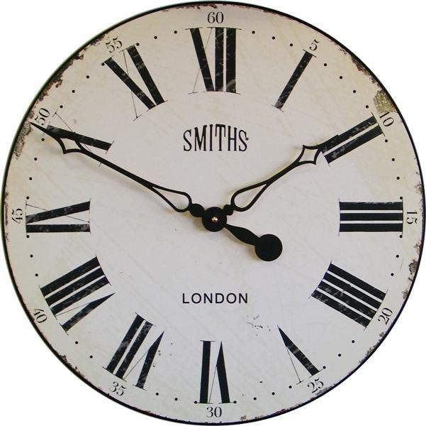 Velké retro hodiny na zeď - Smiths - bílé Roger Lascelles (Velké retro hodiny na zeď - Smiths - bílé Roger Lascelles)