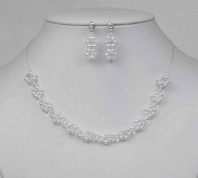 Souprava svatební bižuterie korálky a perličky bílá