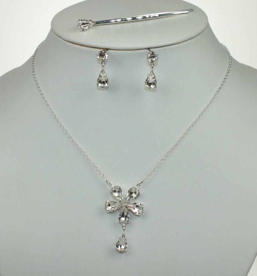 Svatební souprava bižuterie náhrdelník, sponka a náušnice (Svatební souprava bižuterie náhrdelník, sponka a náušnice)