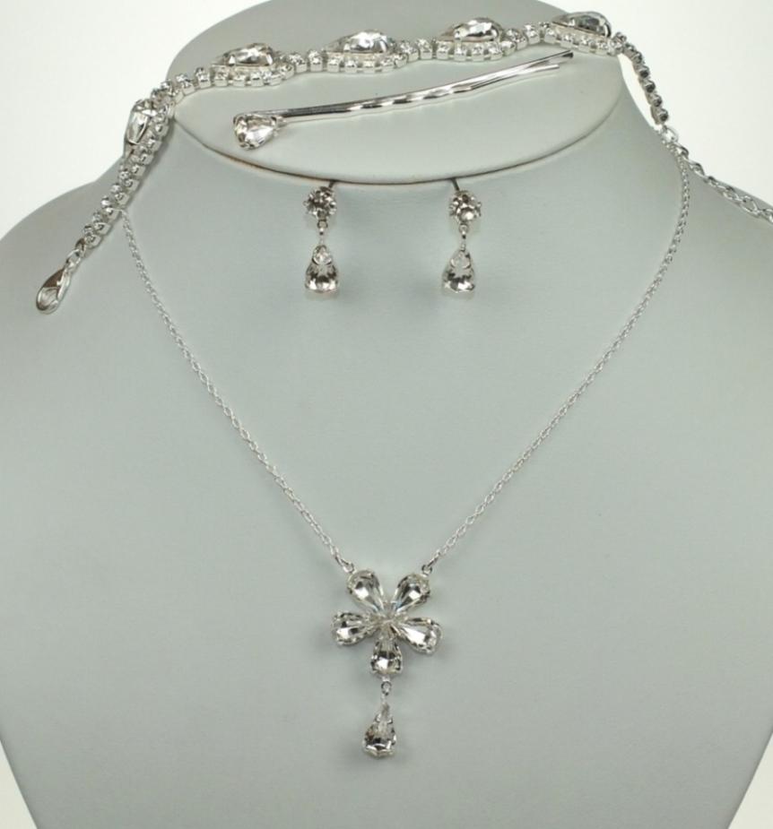 Svatební souprava bižuterie náhrdelník, sponka, náramek a náušnice (Svatební souprava bižuterie náhrdelník, sponka, náramek a náušnice)